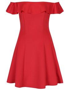 Červené minišaty s odhalenými rameny Miss Selfridge
