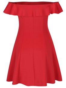 Červené minišaty s odhalenými ramenami Miss Selfridge