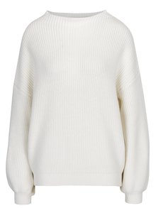 Krémový zimní svetr s balónovými rukávy Selected Femme Festa
