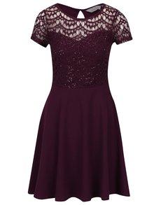 Vínové šaty s čipkovaným topom a flitrami Dorothy Perkins Petite