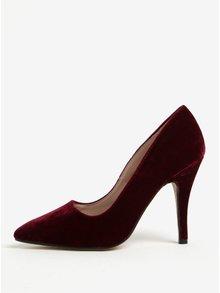 Pantofi bordo cu toc cui si aspect catifelat Dorothy Perkins