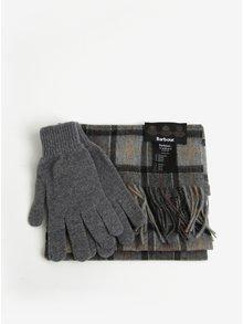 Set de manusi si fular din lana gri cu carouri - Barbour Gift Box