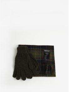 Darčeková súprava vlnených rukavíc a šálu v kaki farbe Barbour Gift Box