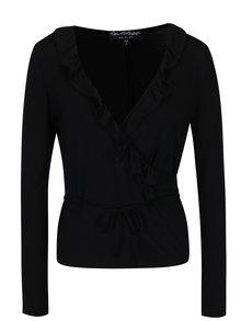 Bluza neagra cu decolteu suprapus si volane Miss Selfirdge