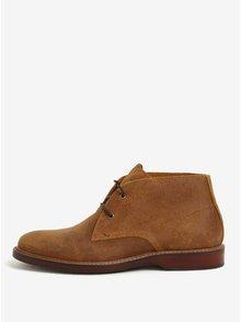 Hnědé pánské kožené kotníkové boty ALDO Hathcyn