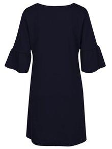 Tmavomodré šaty s volánmi na rukávoch VILA Tinn