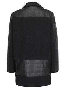 Čierny zimný vlnený kabát Kvinna