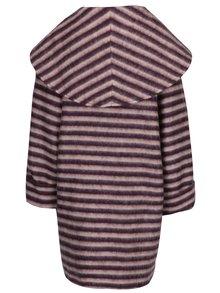 Ružovo-fialový pruhovaný vlnený zimný oversize kabát Kvinna