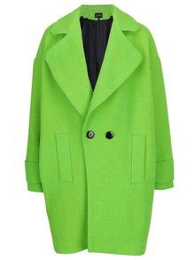 Neonově zelený zimní vlněný kabát Kvinna