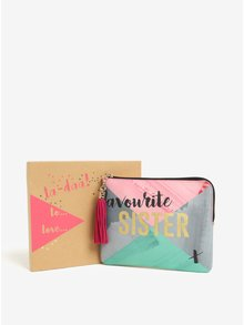 Šedo-růžová kosmetická taštička v dárkové krabičce Disaster Ta-Daa  Sister