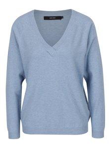 Svetlomodrý sveter s véčkovým výstrihom VERO MODA Karis