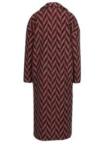 Čierno-ružový vzorovaný zimný vlnený kabát Kvinna