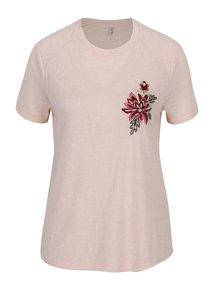 Tricou roz deschis cu broderie florala -  ONLY Helena