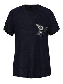 Tmavomodré tričko s výšivkou a flitrami ONLY Helena