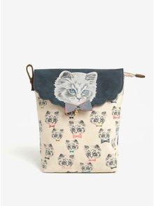 Geanta bej pentru cosmetice cu print pisicute - Disaster Meow