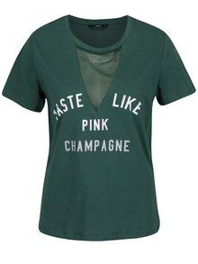 Tricou verde inchis cu mesaj si insertie de plasa - ONLY Champagne