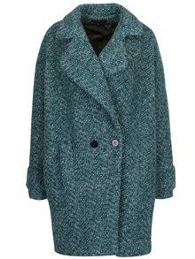 Zelený zimní vlněný oversize kabát s podšívkou s příměsí hedvábí Kvinna