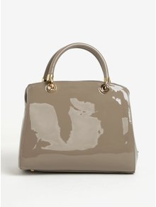Béžová lesklá kabelka do ruky s přívěskem Juno