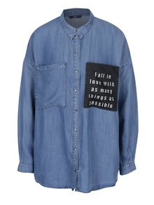 Camasa oversized din denim cu buzunare si mesaj - ONLY May
