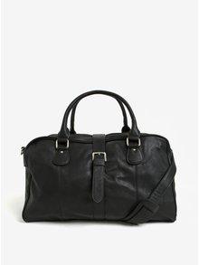 Čierna kožená cestovná taška Dice Overnight