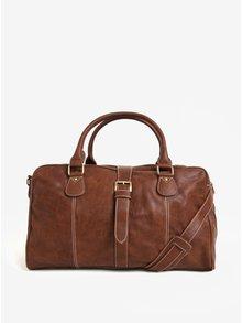 Hnedá kožená cestovná taška Dice Overnight