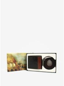 Čierna súprava koženého opasku a koženej peňaženky v darčekovej krabičke Dice