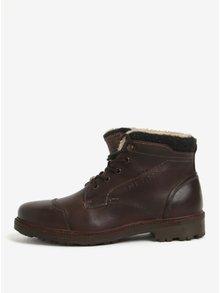 Tmavě hnědé pánské kožené zimní kotníkové boty bugatti Alvise