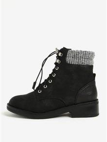 Čierne dámske členkové zimné topánky s umelou kožušinou ONLY Alexandra