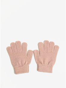 Svetloružové dievčenské rukavice s trblietavým efektom name it Magic