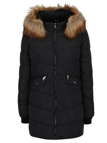Čierny prešívaný kabát s umelou kožušinou ONLY Sanna