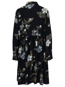Tmavomodré kvetované košeľové šaty VERO MODA Aya