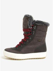 Tmavě šedé dámské semišové zimní boty na platformě Weinbrenner