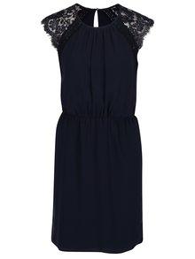 Tmavomodré šaty s čipkou VERO MODA Nadenka