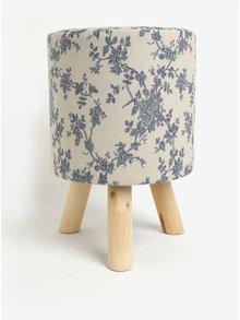 Modro-krémový květovaný sedák Dakls