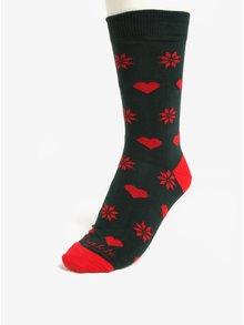 Tmavozelené unisex ponožky so srdciami a vločkami Fusakle Vianočná ľúbosť