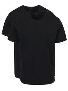 Sada dvou pánských černých basic slim fit triček pod košili Calvin Klein