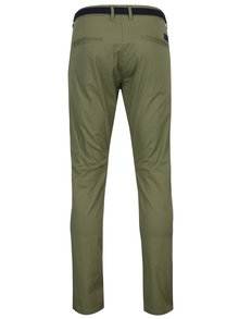 Kaki slim fit chino nohavice s opaskom Selected Homme Hyard