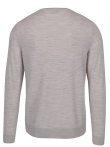 Pulover crem din lana Merino Jack & Jones Premium Mark
