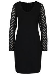 Čierne šaty s čipkovanými rukávmi Yest