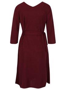 Vínové šaty so zaväzovaním v páse Yest