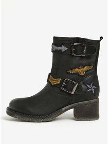 Černé dámské zimní kožené kotníkové boty s.Oliver