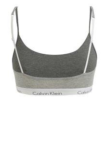 Bustier sport gri melanj cu banda lata elastica si logo - Calvin Klein