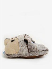 Béžovo-šedá masážní bačkora ve tvaru medvěda Something Special