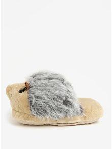 Béžovo-šedá masážní bačkora ve tvaru ježka Something Special