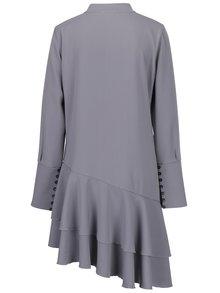 Sivé asymetrické oversize šaty s volánmi BLUZAT