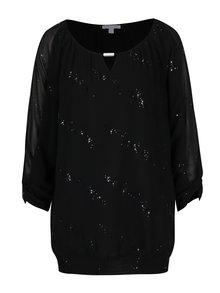 Bluza neagra cu detalii transparente si aplicatii decorative Gina Laura