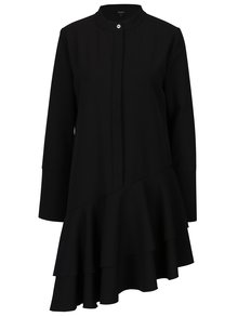 Černé asymetrické oversize šaty s volány Bluzat