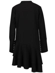 Čierne asymetrické oversize šaty s volánom BLUZAT