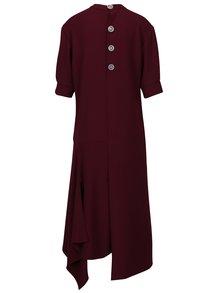 Vínové asymetrické oversize šaty s rozparkami BLUZAT