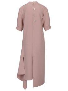 Starorůžové asymetrické oversize šaty s rozparky Bluzat